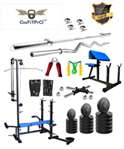 GoFiTPrO 100 Kg Rubber Weight Home Gym with 20 in 1 Bench