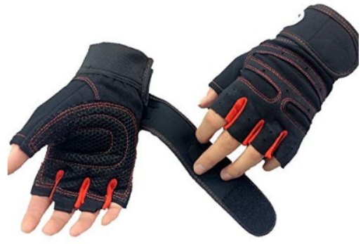 DreamPalace India Leather Wrist Support Gym and Fitness Gloves