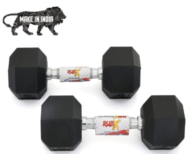 RUBX Rubber Coated Professional Exercise Hex Dumbbells